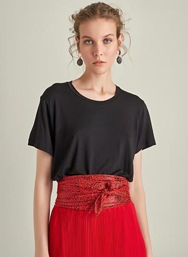 Ng Style Desenli Kumaş Kemer Kırmızı